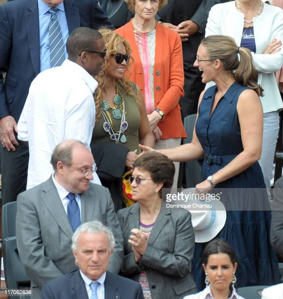 Singers JayZ Byonce Knowles and Mary Pierce are seen at the French Open on June 6 2010 in Paris France