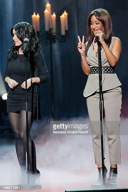 Singers Jenifer and Amel Bent perform during 'La Chanson De L'Annee 2012' Show Recording at Palais des Sports on December 10 2012 in Paris France