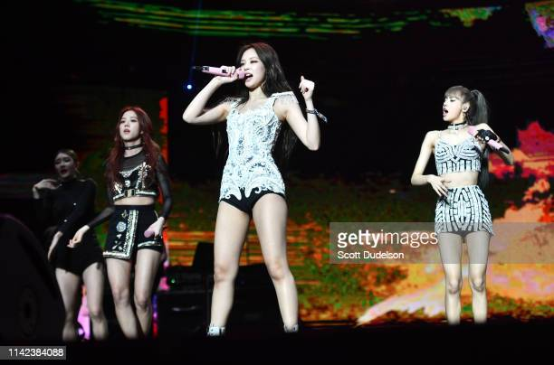 Singers Jennie Kim Jisoo and Lisa of BLACKPINK perform onstage during the 2019 Coachella Valley Music and Arts Festival on April 12 2019 in Indio...