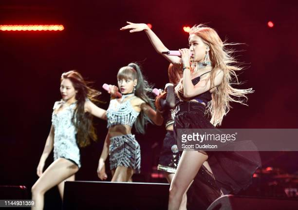 Singers Jennie Kim Lisa and Rose of BLACKPINK perform onstage during the 2019 Coachella Valley Music and Arts Festival on April 12 2019 in Indio...