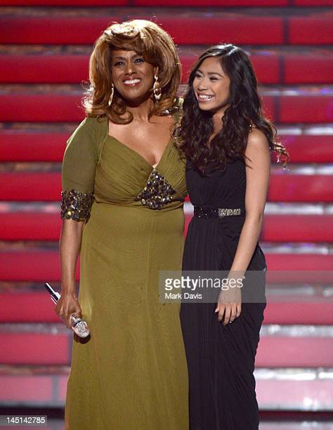 Singers Jennifer Holliday and Jessica Sanchez perform onstage during Fox's American Idol 2012 results show at Nokia Theatre LA Live on May 23 2012 in...