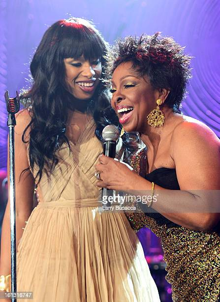 Singers Jennifer Hudson and Gladys Knight perform onstage at the 55th Annual GRAMMY Awards PreGRAMMY Gala and Salute to Industry Icons honoring LA...