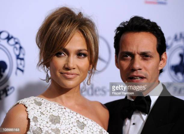 Singers Jennifer Lopez and Marc Anthony arrive at the 32nd Anniversary Carousel Of Hope Gala at the Beverly Hilton Hotel on October 23 2010 in...
