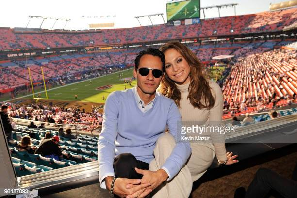 MIAMI GARDENS FL FEBRUARY 07 **EXCLUSIVE COVERAGE** Singers Jennifer Lopez and Marc Anthony attend Super Bowl XLIV at Sun Life Stadium on February 7...