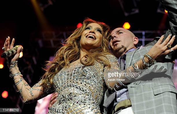 Singers Jennifer Lopez and Pitbull perform at KIIS FM's Wango Tango at the Staples Center on May 14 2011 in Los Angeles California
