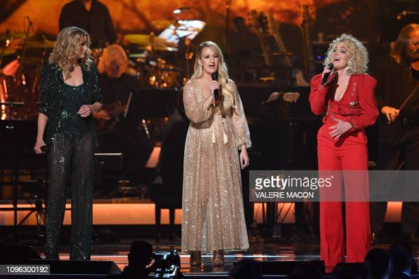 US singers Jennifer Nettles Margo Price and Cam perform onstage at the 2019 MusiCares Person Of The Year gala at the Los Angeles Convention Center in...