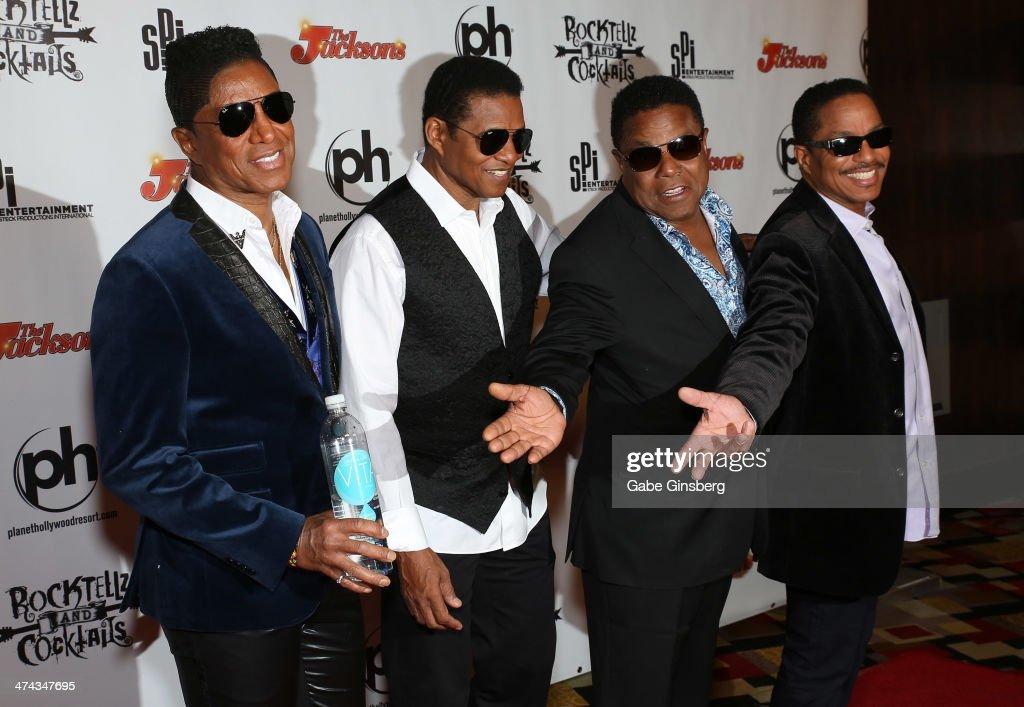 Singers Jermaine Jackson, Jackie Jackson, Tito Jackson and Marlon Jackson arrive at RockTellz & CockTails presents The Jacksons at Planet Hollywood Resort & Casino on February 22, 2014 in Las Vegas, Nevada.