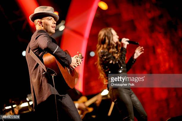 Singers Jesse Huerta and Joy Huerta of Jesse Joy perform onstage at 2014 MusiCares Person Of The Year Honoring Carole King at Los Angeles Convention...