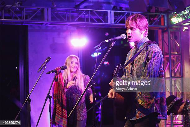 Singers Jesse Money and Dez Money perform during AOL Build at AOL Studios on November 30, 2015 in New York City.