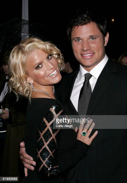 Singers Jessica Simpson and Nick Lachey arrive at the 31st Annual People's Choice Awards at the Pasadena Civic Auditorium on January 9 2005 in...