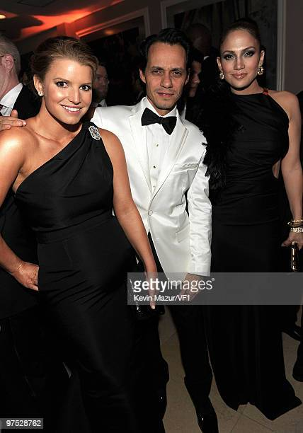 Singers Jessica Simpson, Marc Anthony and Jennifer Lopez attend the 2010 Vanity Fair Oscar Party hosted by Graydon Carter at the Sunset Tower Hotel...