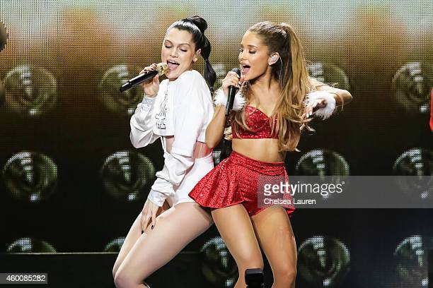 Singers Jessie J abd Ariana Grande perform at KIIS FM's Jingle Ball at Staples Center on December 5 2014 in Los Angeles California