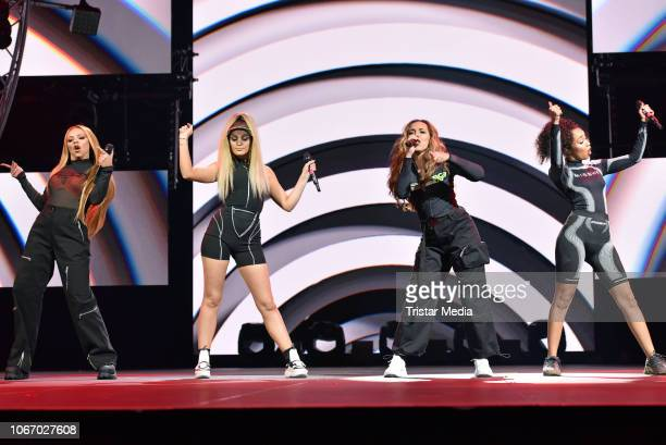 UK singers Jesy Nelson Jade Thirlwall Perrie Edwards and LeighAnne Pinnock of the girlband Little Mix perform at The Dome 2018 music show on November...