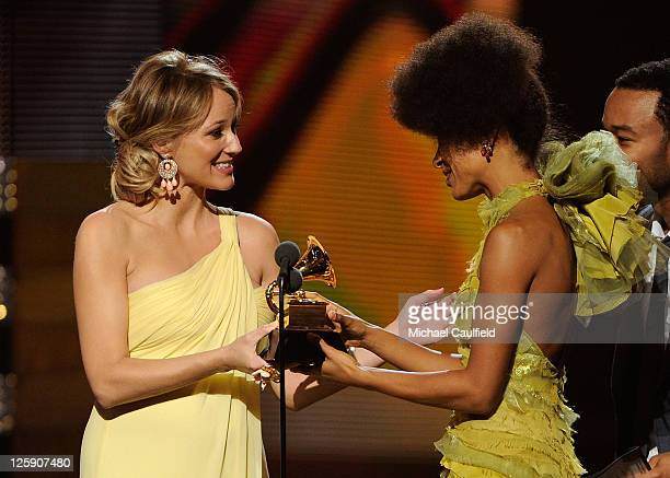 Singers Jewel and Esperanza Spalding onstage during The 53rd Annual GRAMMY Awards held at Staples Center on February 13, 2011 in Los Angeles,...