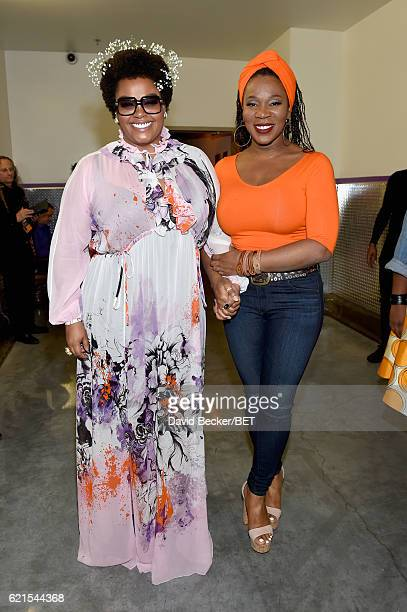 Singers Jill Scott and IndiaArie seen backstage during the 2016 Soul Train Music Awards on November 6 2016 in Las Vegas Nevada