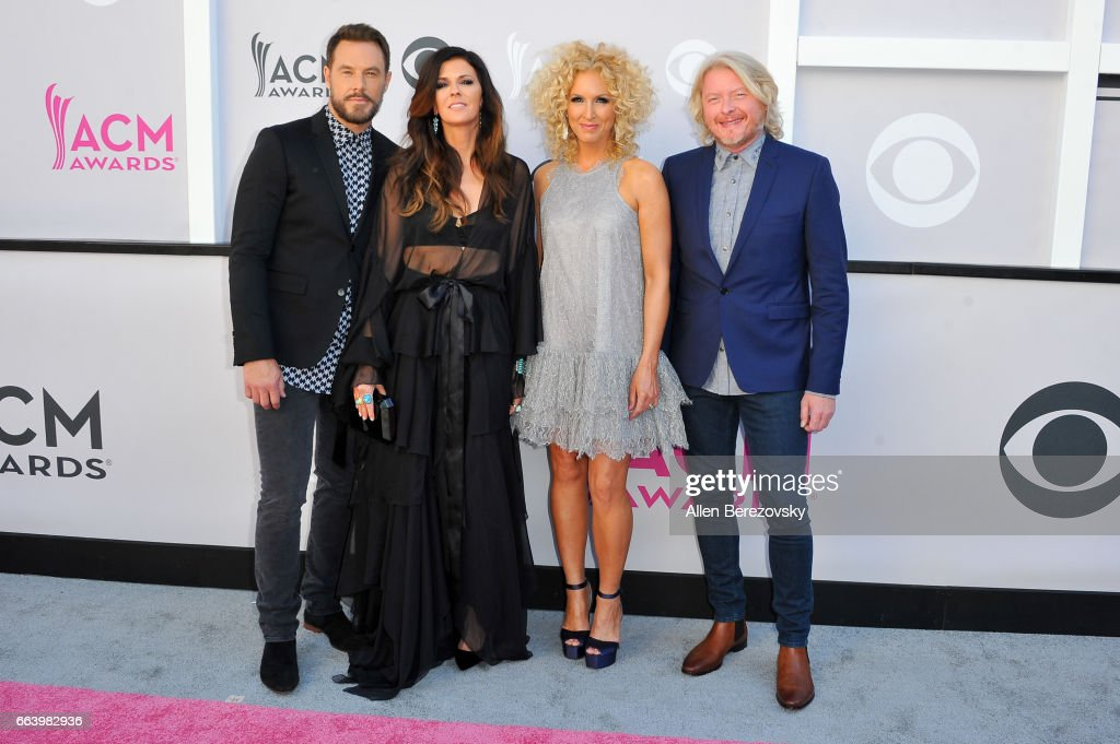 Singers Jimi Westbrook, Karen Fairchild, Kimberly Schlapman and Philip Sweet of music group Little Big Town arrives at the 52nd Academy Of Country Music Awards on April 2, 2017 in Las Vegas, Nevada.