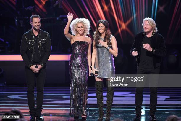 Singers Jimi Westbrook Kimberly Schlapman Karen Fairchild and Philip Sweet of Little Big Town perform onstage during Stayin' Alive A GRAMMY Salute To...