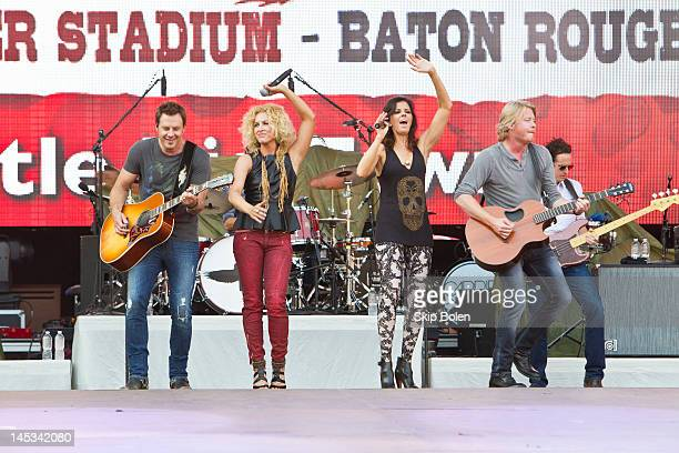 Singers Jimi Westbrook Kimberly Schlapman Karen Fairchild and Phillip Sweet of Little Big Town performs during the 2012 Bayou Country Superfest at...