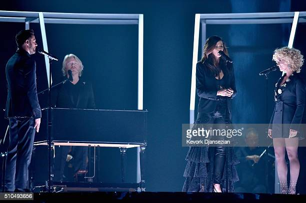 Singers Jimi Westbrook Philip Sweet Karen Fairchild and Kimberly Schlapman of Little Big Town perform onstage during The 58th GRAMMY Awards at...