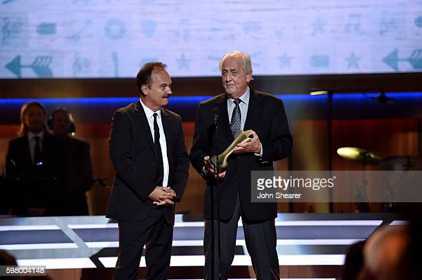 Singers Jimmy Fortune and Don Reid from musical group The Statler Brothers perform onstage during the 10th Annual ACM Honors at the Ryman Auditorium...