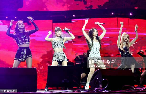 Singers Jisoo, Lisa, Jennie Kim and Rose of BLACKPINK perform onstage during the 2019 Coachella Valley Music and Arts Festival on April 12, 2019 in...