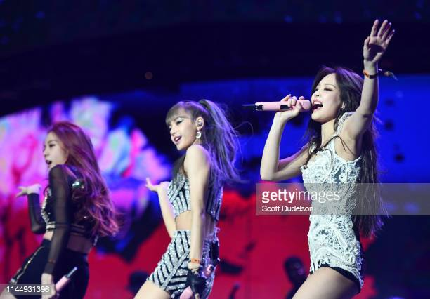 Singers Jisoo Lisa Jennie Kim of BLACKPINK perform onstage during the 2019 Coachella Valley Music and Arts Festival on April 12 2019 in Indio...