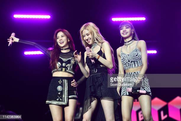 Singers Jisoo, Rose and Lisa of BLACKPINK perform onstage during the 2019 Coachella Valley Music and Arts Festival on April 12, 2019 in Indio,...