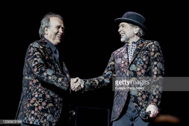 Singers Joan Manuel Serrat and Joaquin Sabina perform on stage at WiZink Center on January 20 2020 in Madrid Spain