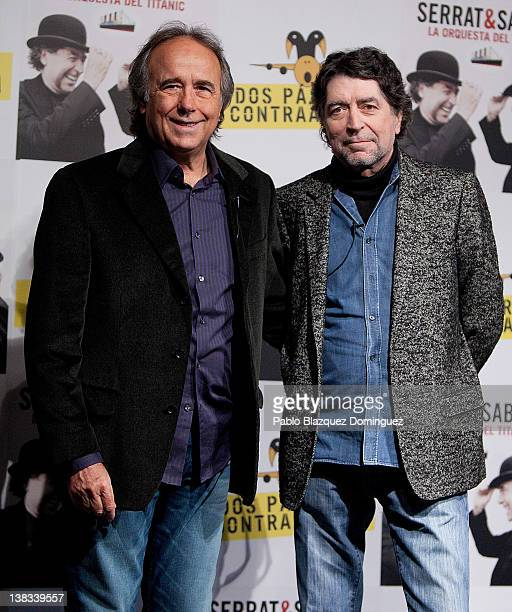 Singers Joan Manuel Serrat and Joaquin Sabina present the new album 'La Orquesta del Titanic' at Casa America on February 6 2012 in Madrid Spain