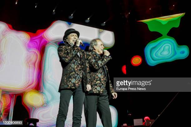Singers Joan Manuel Serrat and Joaquín Sabina perform on stage at WiZink Center on January 20 2020 in Madrid Spain