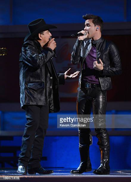 Singers Joan Sebastian and Prince Royce perform onstage during the 13th annual Latin GRAMMY Awards held at the Mandalay Bay Events Center on November...