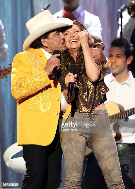 Singers Joan Sebastian and Thalia perform onstage at the 2010 Billboard Latin Music Awards at Coliseo de Puerto Rico José Miguel Agrelot on April 29...