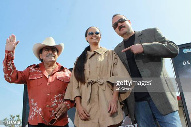 Singers Joan Sebastian Shaila Durcal and Pepe Aguilar pose for a photograph during the announcement of their upcoming tour 'Dejando Huella Una...