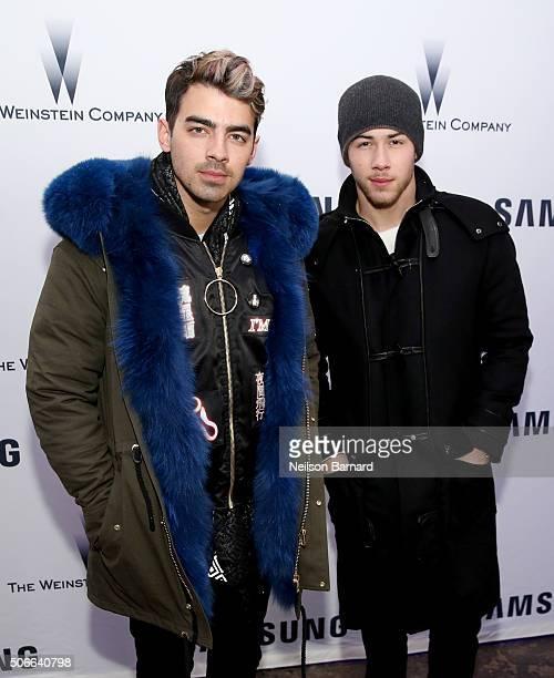 Singers Joe Jonas and Nick Jonas attend Samsung Studio and Harvey Weinstein Host Annual Weinstein Sundance Bowl Football Party During The Sundance...