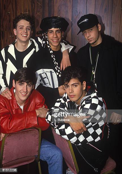 Singers Joey McIntyre Danny Wood Donnie Wahlberg Jonathan Knight and Jordan Knight of New Kids On The Block pose during a circa 1989 photo shoot