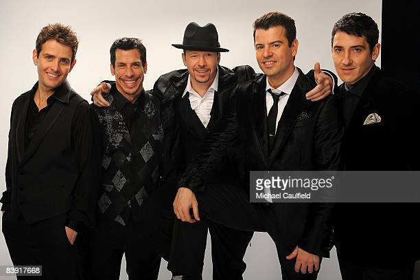 Singers Joey McIntyre Danny Wood Donnie Wahlberg Jordan Knight and Jonathan Knight from the group New Kids on the Block pose for a portrait during...