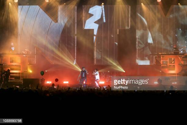 Singers Joey Starr and Kool Shen of French band NTM perform on stage during theFestival of Humanity a political event and music festival organised by...