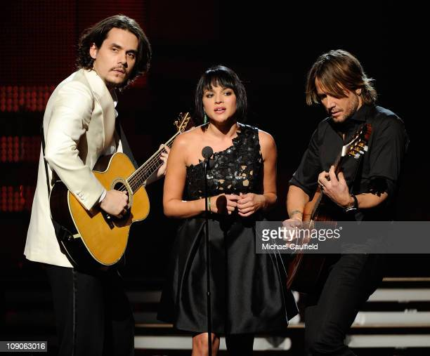 Singers John Mayer Norah Jones and Keith Urban perform onstage during The 53rd Annual GRAMMY Awards held at Staples Center on February 13 2011 in Los...