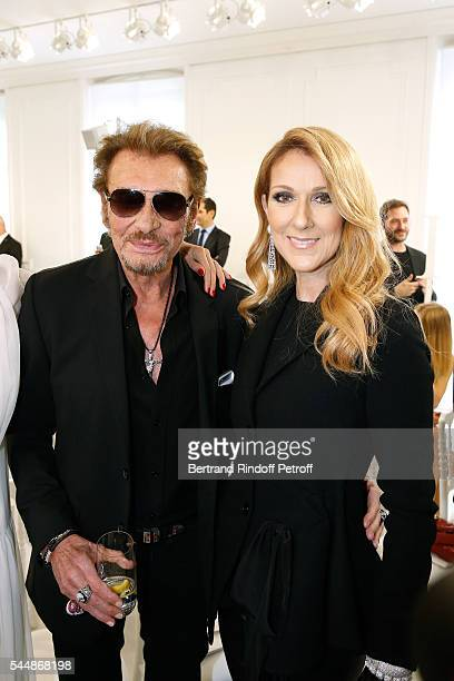 Singers Johnny Hallyday and Celine Dion attend the Christian Dior Haute Couture Fall/Winter 20162017 show as part of Paris Fashion Week on July 4...