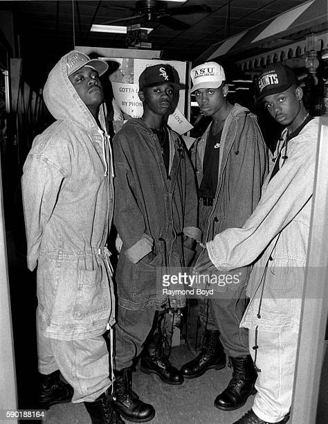 Singers JoJo KCi Devante and Mr Dalvin from Jodeci poses for photos at Jimmie's Records in Chicago Illinois in January 1991