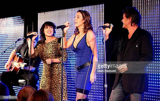 Singers Jon Stevens Heloise Waislitz and Kate Ceberano perform at the Pratt Foundation's An Intimate Evening with Sir Bob Geldof in support of St...