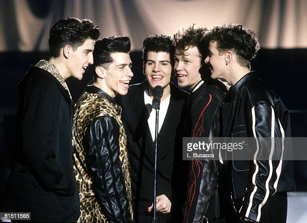 Singers Jonathan Knight Danny Wood Jordan Knight Donnie Wahlberg and Joey McIntyre of New Kids On The Block perform during a circa 1989 video shoot