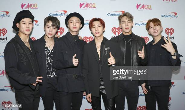 Singers Joohoney, Minhyuk, Hyungwon, I.M.,Shownu and Kihyun from Monsta X arrive at iHeartRadio's Z100 Jingle Ball 2019 at Madison Square Garden on...
