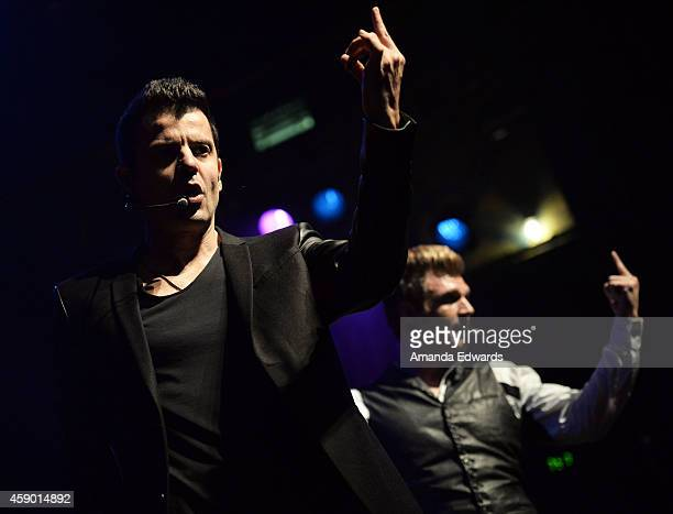 Singers Jordan Knight and Nick Carter of Nick Knight perform onstage at the House of Blues on November 14 2014 in West Hollywood California