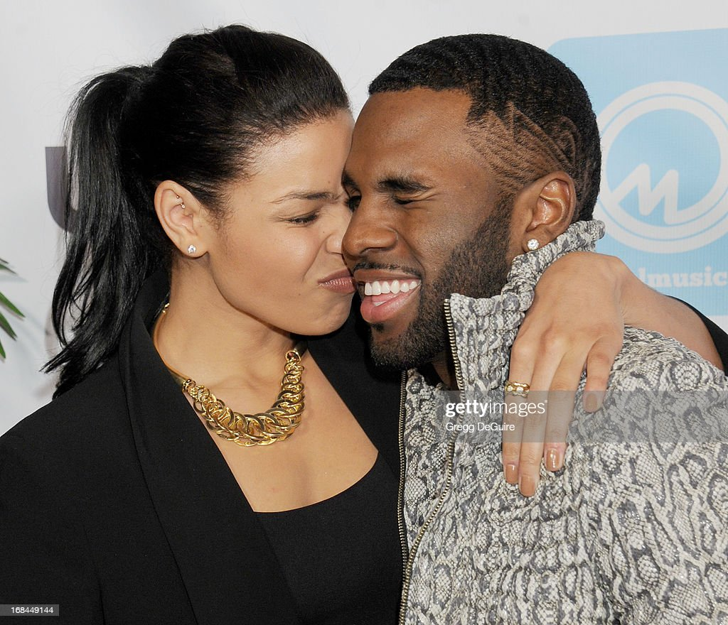 Singers Jordin Sparks and Jason Derulo arrive at the NARM Music Biz Awards dinner party at the Hyatt Regency Century Plaza on May 9, 2013 in Century City, California.