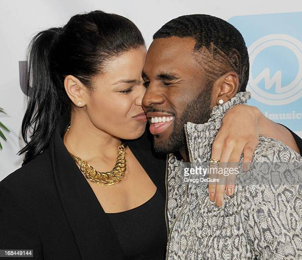 Singers Jordin Sparks and Jason Derulo arrive at the NARM Music Biz Awards dinner party at the Hyatt Regency Century Plaza on May 9 2013 in Century...