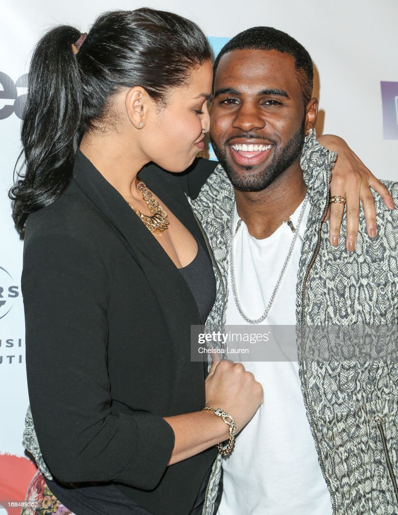 Singers Jordin Sparks (L) and Jason Derulo arrive at the NARM Music Biz Awards dinner party at the Hyatt Regency Century Plaza on May 9, 2013 in Century City, California.