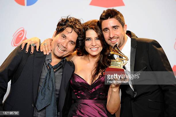 Singers Jorge Villamizar Lena Burke and Alex Ubago of the group Alex Jorge y Lena winners of the Best Pop Album by a Duo/Group with Vocals Award for...