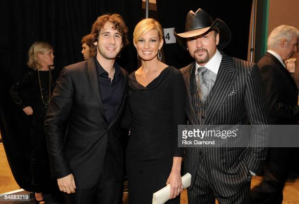 Singers Josh Groban, Faith Hill and Tim McGraw backstage at the 2009 MusiCares Person of the Year Tribute to Neil Diamond at the Los Angeles...