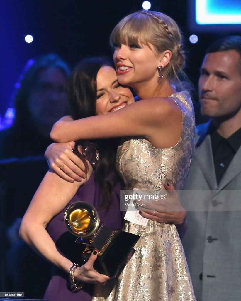 Singers Joy Williams of the Civil Wars (L) and Taylor Swift onstage during the 55th Annual GRAMMY Awards Pre-Telecast at Nokia Theatre L.A. Live on February 10, 2013 in Los Angeles, California.